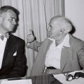 MR. G. MENNON WILLIAMS THE GOVERNOR OF MICHIGAN   (L) CALLS ON P.M. DAVID BEN GURION IN TEL AVIV.